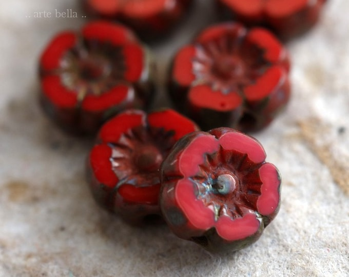 CORAL RED PANSY .. 6 Premium Picasso Czech Glass Flower Beads 7mm (6649-6)