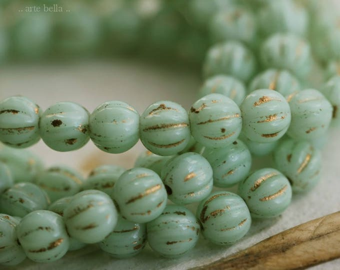 GILDED MINT MELONS .. 50 Premium Picasso Czech Melon Glass Beads 4mm (6124-st)