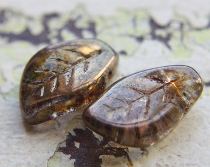 last ones .. FALLEN LEAVES .. 10 Premium Picasso Czech Glass Leaf Beads 9x14mm (1134-10)
