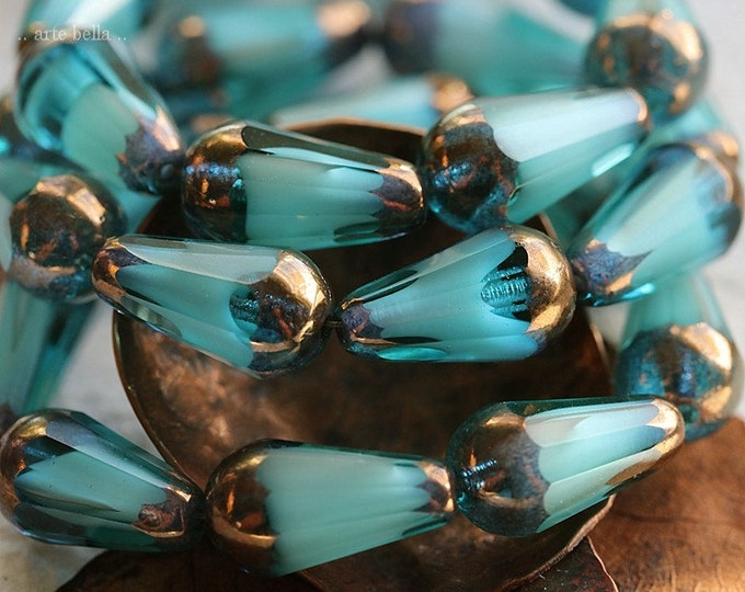 BRONZED OCEAN FACETED Chubettes No. 2 .. New 8 Premium Picasso Czech Glass Faceted Drop Beads 15x8mm (8604-8)