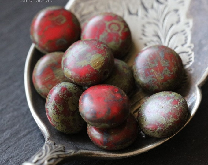 RED LICHEN LENTIL .. 10 Premium Picasso Czech Glass Lentil Beads 10mm (6296-10)