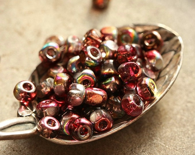 MYSTIC RASPBERRY SEEDS .. New 50 Premium Czech Glass Tri-Cut Seed Beads Size 6/0 (8854-50)