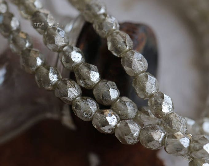 SILVERED 4mm .. 50 Premium Faceted Czech Glass Beads 4mm (6162-st)