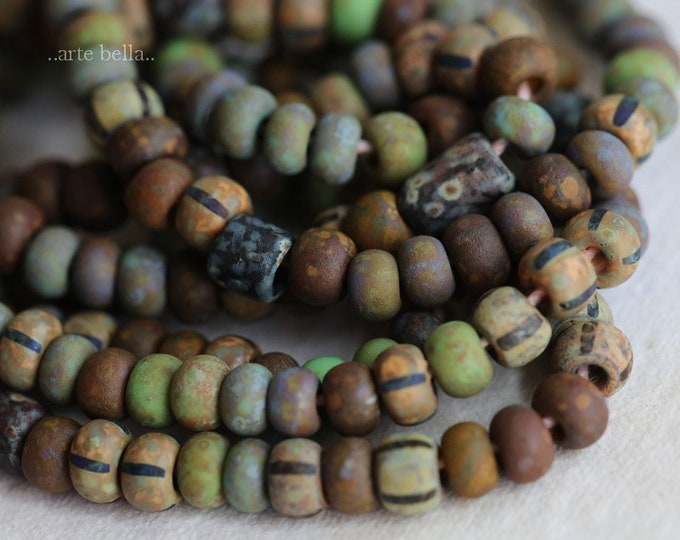 RUSTIC SEED MIX No. 7291 .. Premium Picasso Matte Etched Czech Glass Striped Seed Bead Mix Size 6/0 (7291-st)