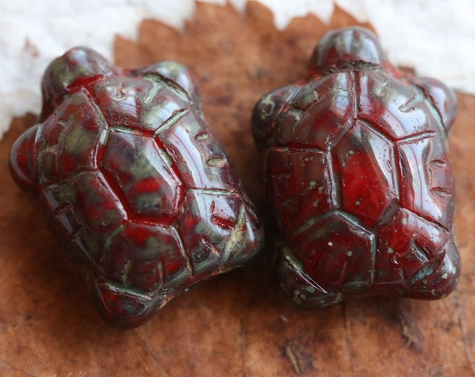 sale .. RED TURTLES .. 2 Czech Picasso Glass Turtle Beads 20x8mm (5304-2)