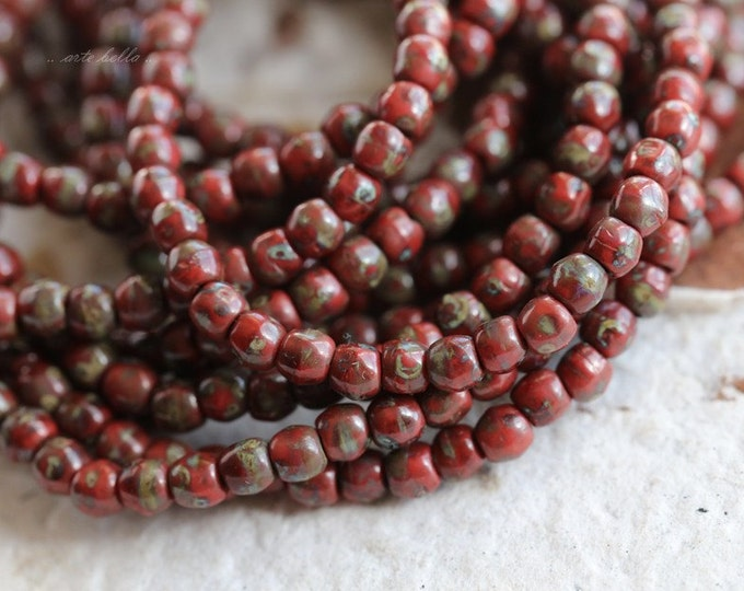 RED BITS .. 50 Premium Picasso Czech Druk Glass Beads 3mm (5034-st)