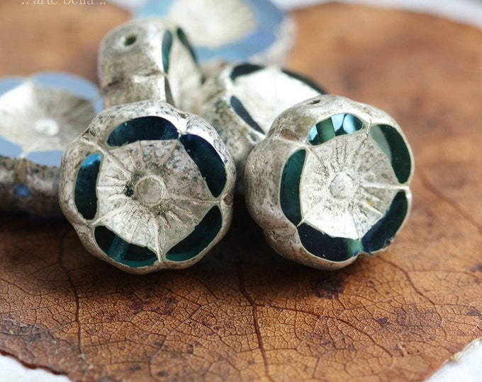 SILVERED TROPICAL PANSY .. New 6 Premium Czech Aurora Borealis Glass Hibiscus Beads 12mm (8168-6)