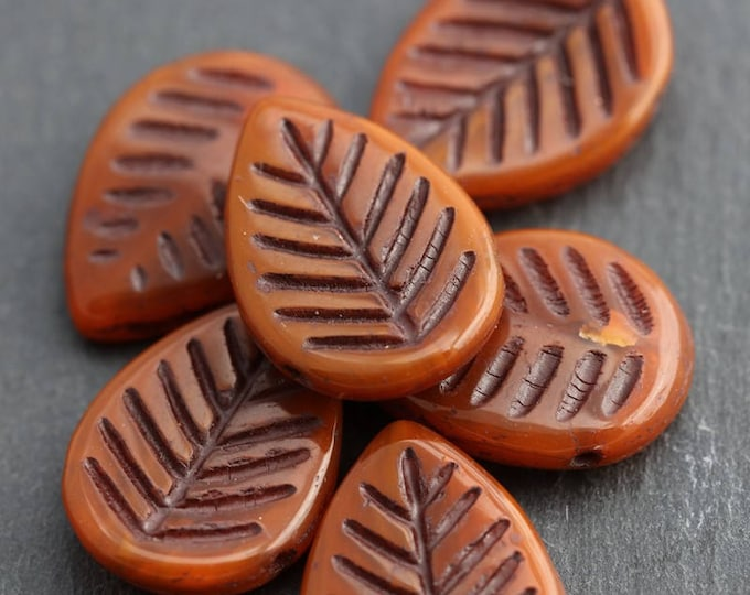 sale .. TERRACOTTA ASPEN .. 6 Premium Picasso Czech Glass Leaf Beads 16x12mm (5986-6)