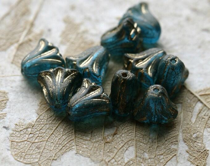 GOLDEN BLUE TULIPS .. New 10 Premium Matte Czech Glass Lily Flower Beads 9x10mm (8528-10)