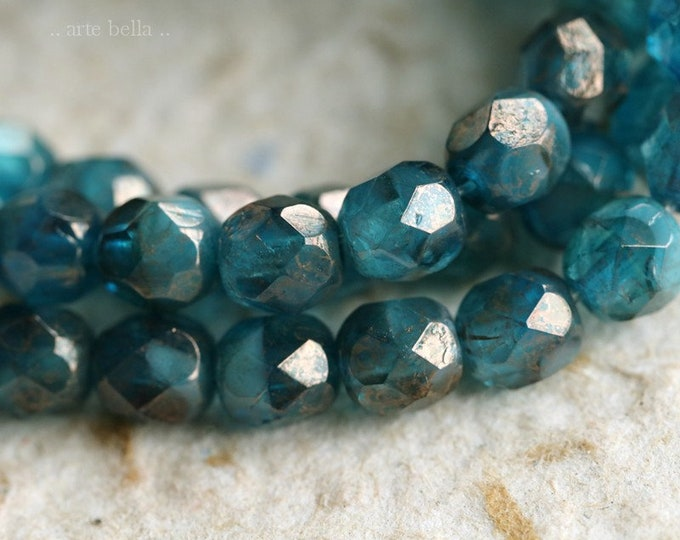 CAPRI OCEAN PEBBLES .. New 25 Premium Picasso Faceted Czech Glass Beads 6mm (7167-st)