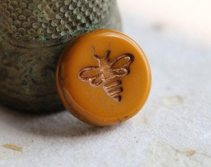 BRONZED SQUASH BIZZY B .. 6 Premium Czech Glass Bee Coin Beads 12mm (8487-6)