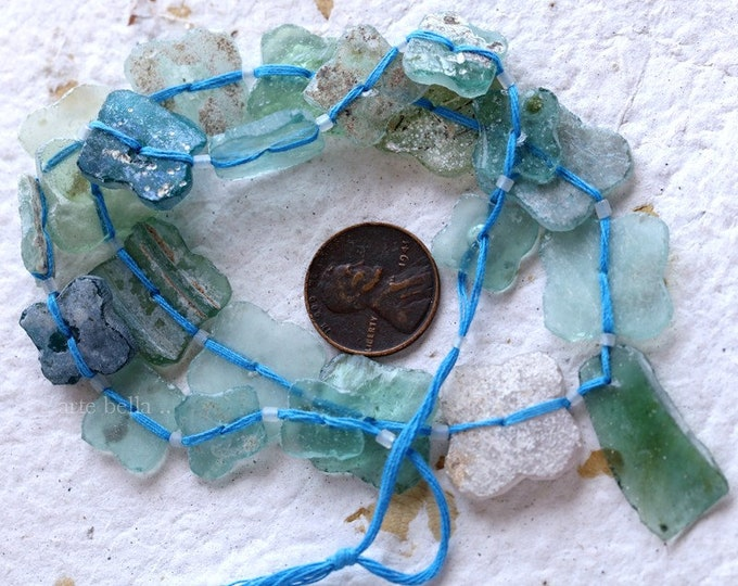 ANCIENT ROMAN GLASS Beads No. 358 .. Genuine Antique Ancient Roman Glass Butterfly Flower Beads (rg-358)