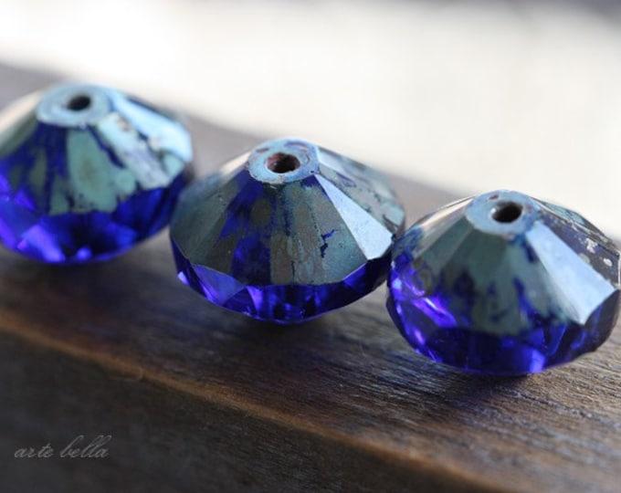 WICKED COBALT .. 4 Premium Picasso Czech Glass Rivoli Bead 14x9mm (3767-4)