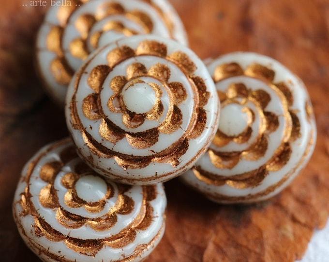 BRONZED IVORY SPIRALS .. New 4 Premium Czech Glass Sepal Spiral Beads 13mm (7829-4)