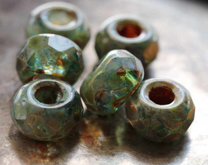 EVERGLADE ROLLERS No. 2 .. 6 Premium Picasso Czech Glass Large Hole Roller Beads 8x12mm (8319-6)