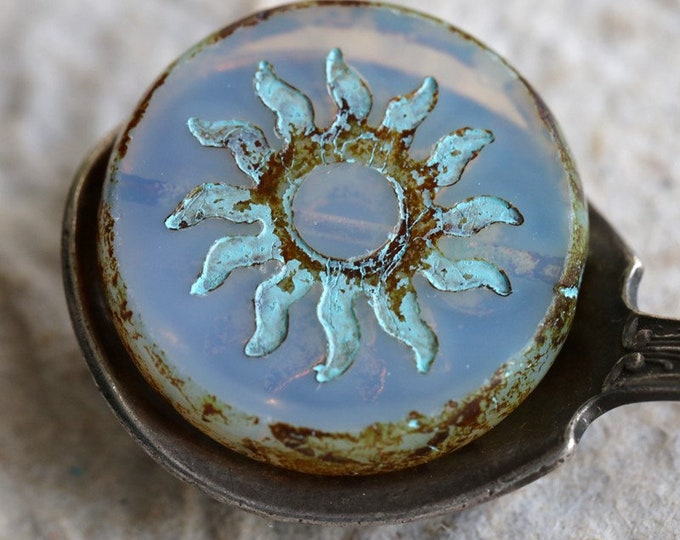 BLUE MILK RAYS .. 1 Premium Picasso Czech Glass Sun Coin Bead 22mm (7625-1)