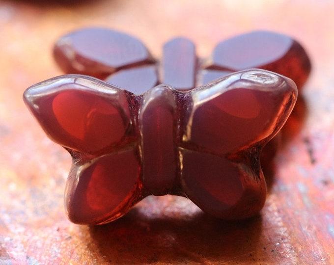 BRONZE PINK FLUTTERS .. New 2 Premium Picasso Czech Glass Butterfly Beads 19x11mm (7680-2)