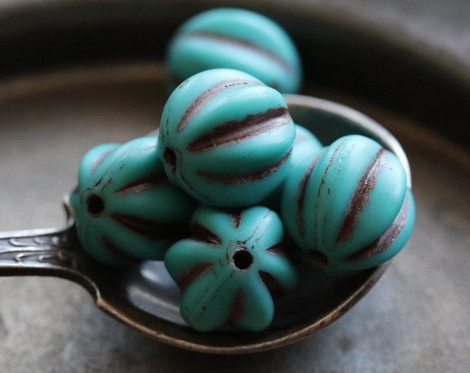 BROWN TEAL MELONS 10mm .. 6 Premium Picasso Czech Glass Melon Beads (7183-6)