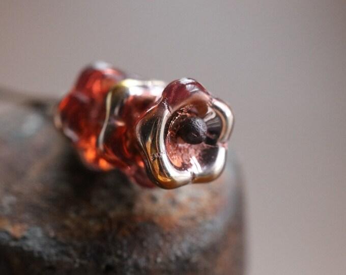 GOLDEN WATERMELON BUDS .. 10 Premium Picasso Czech Glass Flower Beads 8x6mm (7819-10)