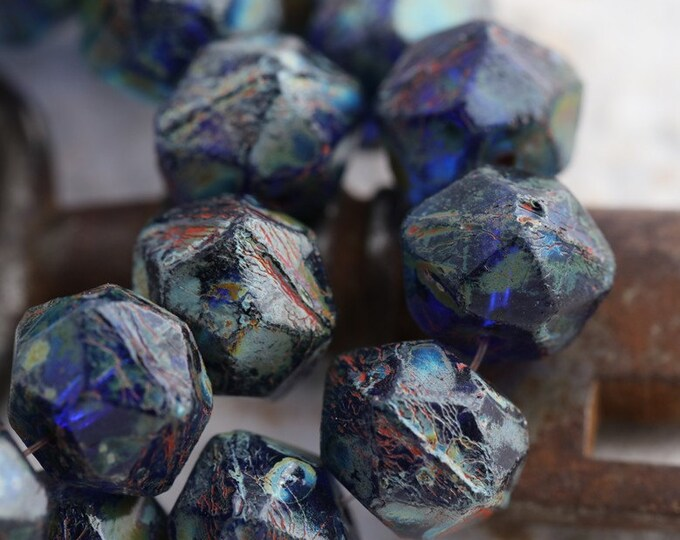 COBALT NUGGETS 10mm .. 10 Picasso Czech Glass English Cut Beads 10mm (5658-10)