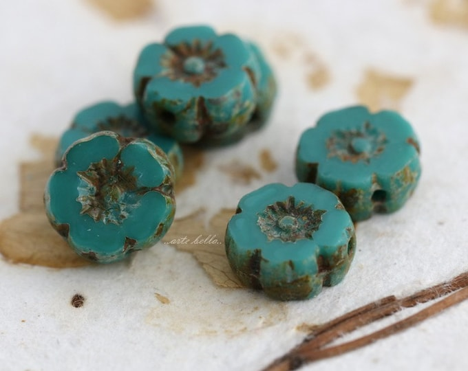 TEAL PANSY No. 3 .. 6 Picasso Czech Glass Flower Beads 8.5-9mm (5380-6)