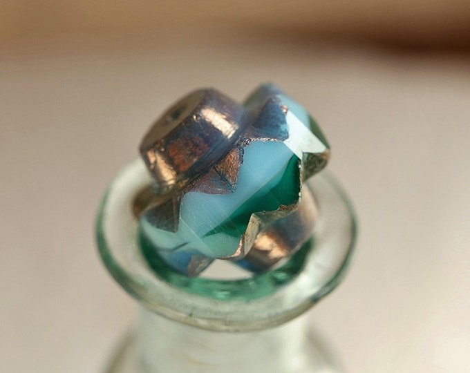BRONZED OCEANIC CROWNS .. New 4 Premium Czech Glass Crown Beads 13x15mm (8835-4)
