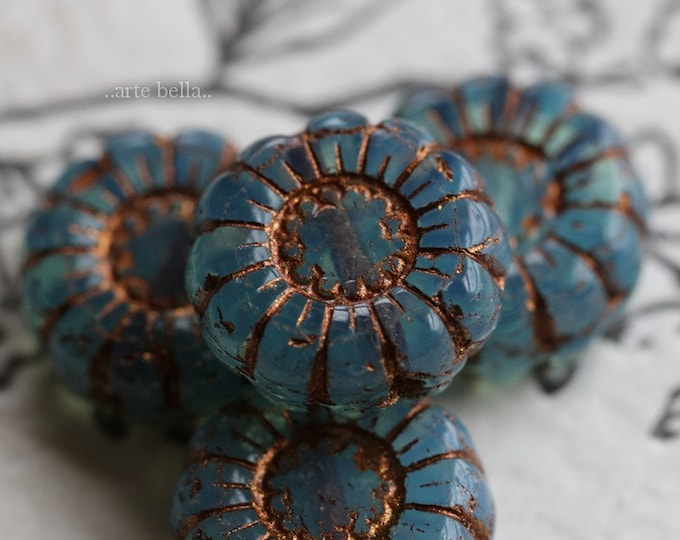 BRONZED BLUE SUNFLOWERS .. 4 Premium Picasso Czech Glass Flower Beads 13mm (7022-4)