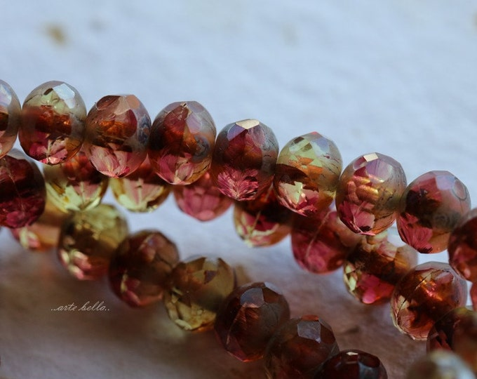 POMEGRANATE .. 10 Premium Picasso Czech Glass Rondelle Beads 5x7mm (4993-10)
