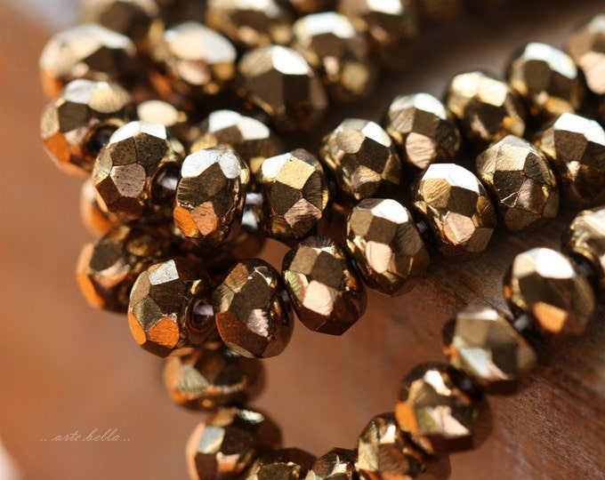 GOLDEN GLASS BABIES .. 30 Premium Picasso Czech Rondelle Glass Beads 3x5mm (4479-st)