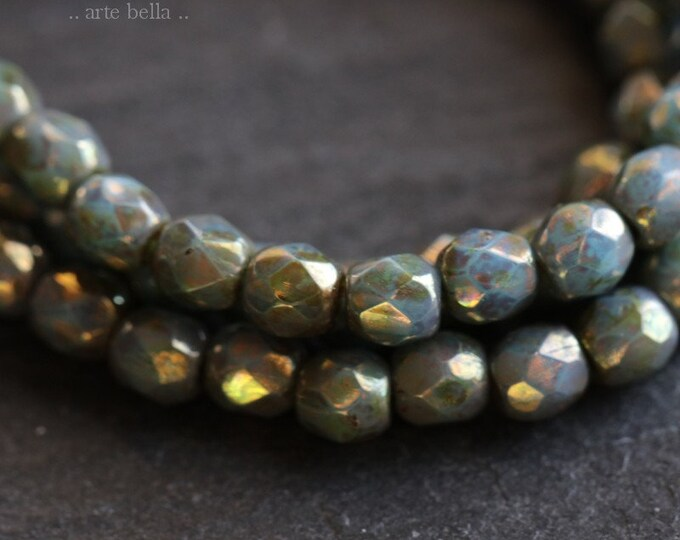 BRONZED SLATE BITS 3mm .. 50 Premium Picasso Faceted Czech Glass Beads 3mm (6587-st)