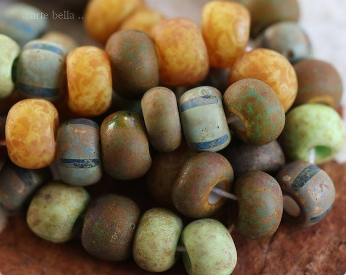 OLD WORLD SEEDS No. 7649 .. 20 Premium Picasso Czech Glass Aged Striped Seed Bead Mix Size 31/0 (7649-20)