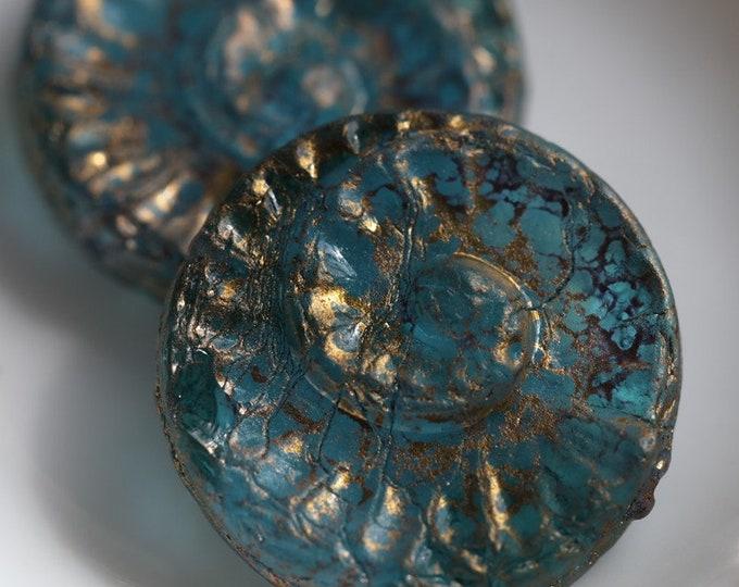 GOLDEN TEAL FOSSIL .. 2 Premium Picasso Czech Spiral Fossil Glass Beads 17.5mm (7056-2)