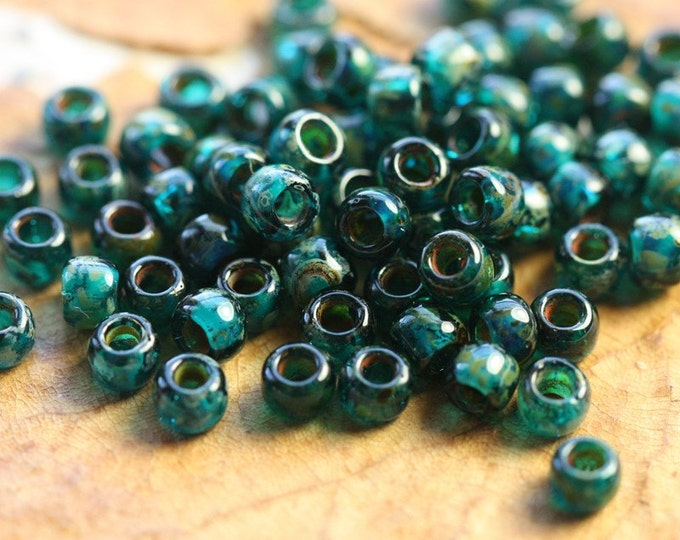 TEAL SEED BEAD No. 2.. 100 Glossy Premium Picasso Czech Glass Seed Beads Size 8 (4638g-100)