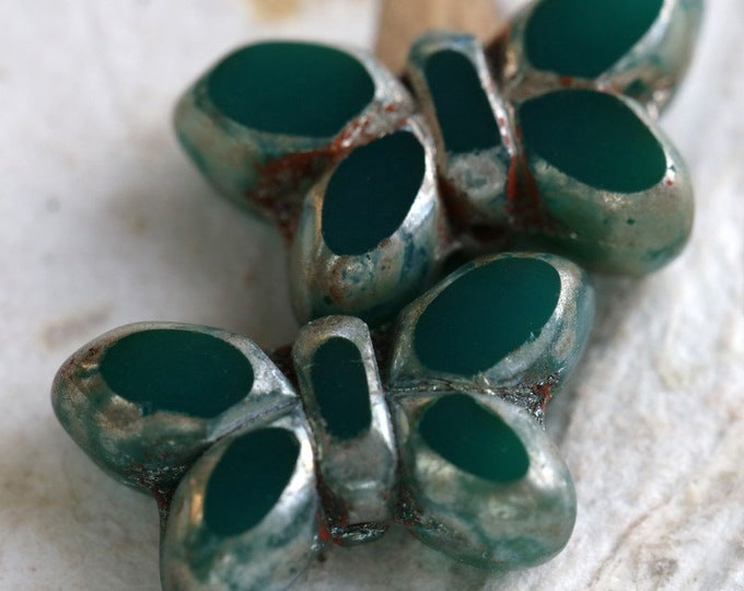 TEAL GREEN FLUTTERS .. 2 Premium Picasso Czech Glass Butterfly Beads 19x10mm (6997-2)
