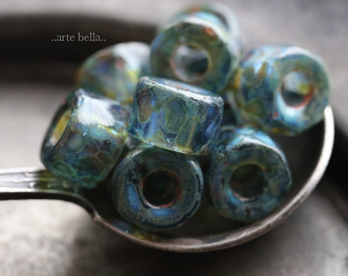 POND CROW ROLLERS .. New 10 Premium Picasso Czech Glass Faceted Crow Roller Beads 9mm (6919-10)