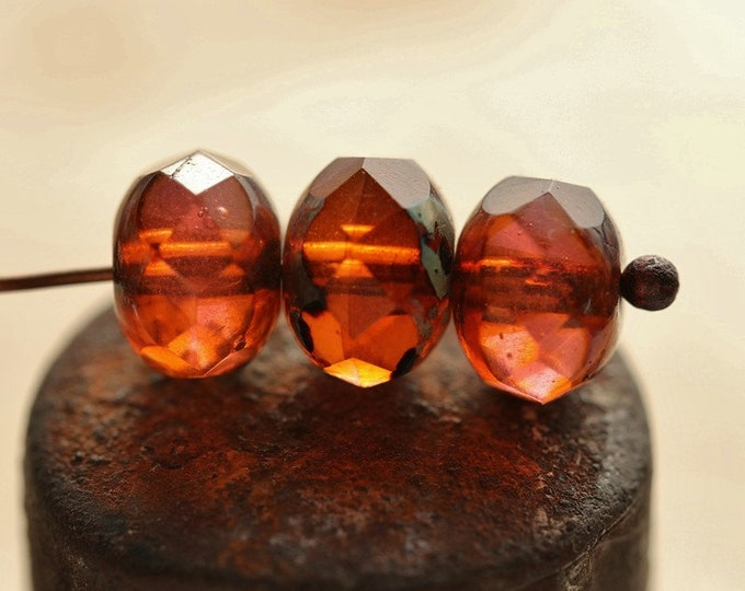 MARMALADE No. 1 .. 10 Premium Picasso Czech Glass Faceted Rondelle Bead 8x6mm (243-10)