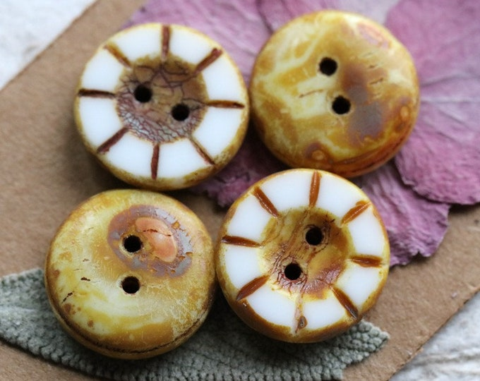 sale .. TOASTED WHITE BUTTONS .. 4 Premium Picasso Czech Glass Coin Buttons 14x5mm (7807-4)