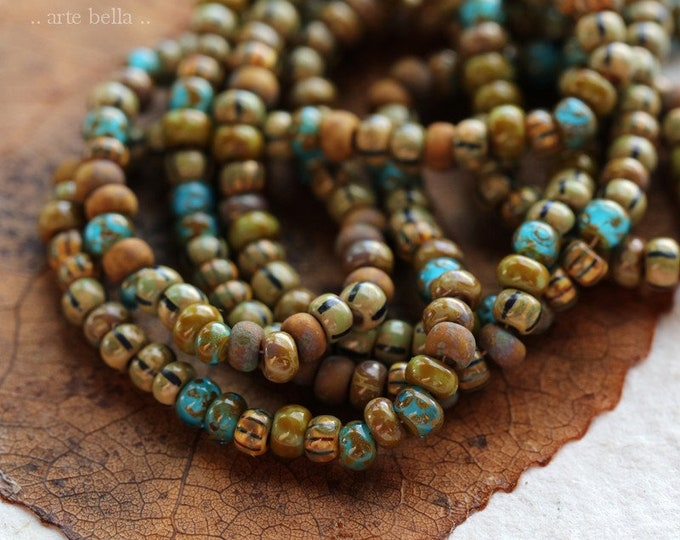 "OLD WORLD MIX No. 8046 .. 22"" Premium Picasso Czech Glass Aged Striped Seed Bead Mix Size 8/0 (8046-st)"