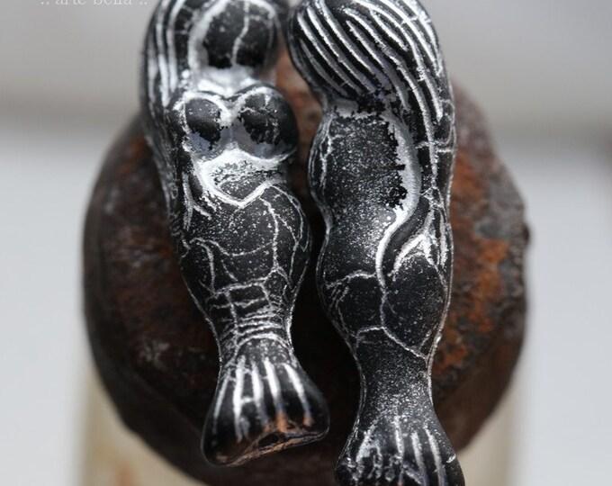 SILVERED BLACK MERMAID .. 2 Premium Matte Czech Glass Mermaid Beads 5x25mm (7893-2)