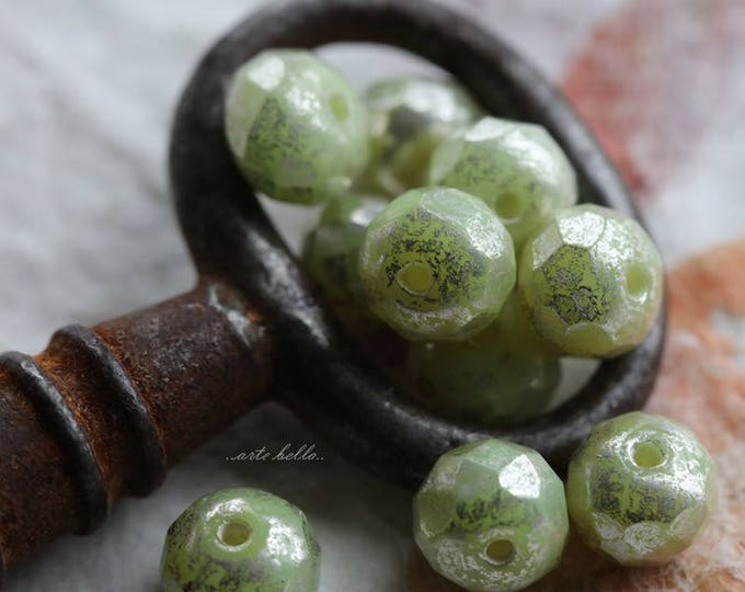SILVERED APPLES .. 10 Picasso Czech Rondelle Glass Beads 5x7mm (5742-10)