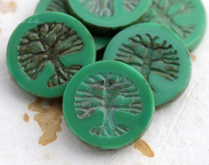 sale .. TREE OF LIFE No. 5684 .. 1 Premium Picasso Czech Glass Bead 22mm (5684-1)