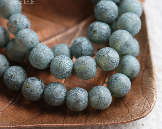 BLUE TEA MIST 6mm .. 30 Premium Picasso Czech Glass Etched Druk Beads (6975-st)