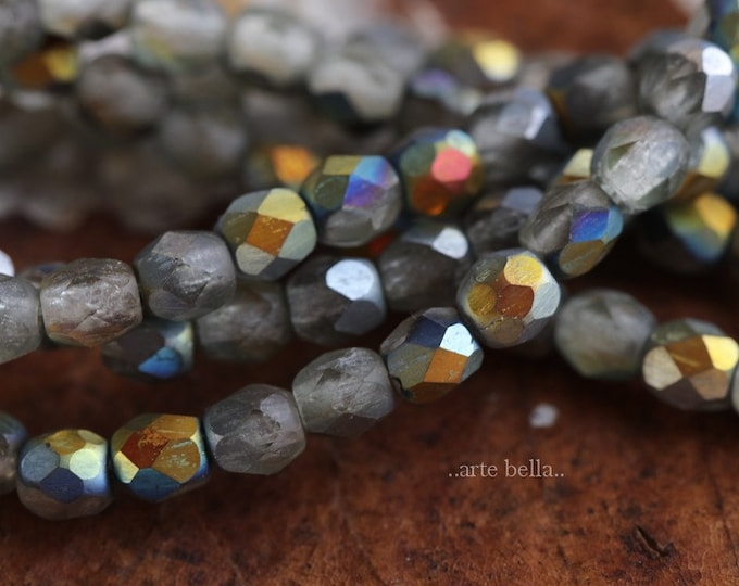 MYSTIC SMOKE PEBBLES 4mm .. 50 Premium Picasso Czech Glass Beads (6536-st)