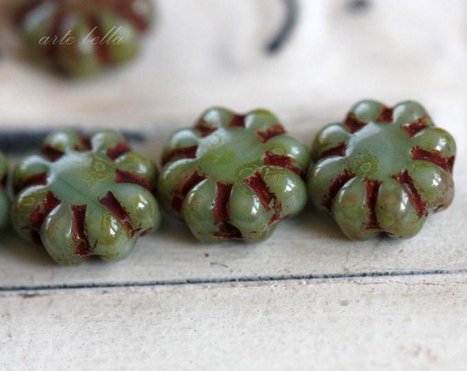 PRETTY POSIES .. 10 Premium Picasso Czech Glass Flower Beads 9mm (3406-10)