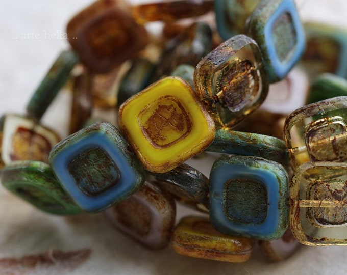 CARVED SQUARE MIX .. 10 Premium Picasso Czech Glass Square Beads 12mm (6319-10)