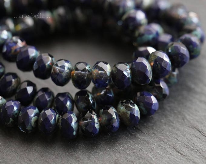 DEEP BLUE BABIES .. 30 Premium Picasso Czech Rondelle Glass Beads 3x5mm (6035-st)
