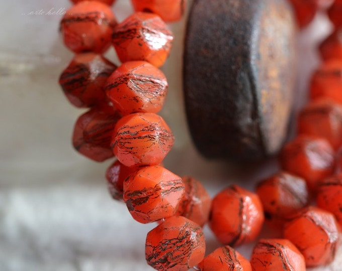 sale .. ORANGE NUGGETS .. 20 Premium Picasso Czech Glass English Cut Beads 8mm (5654-st)