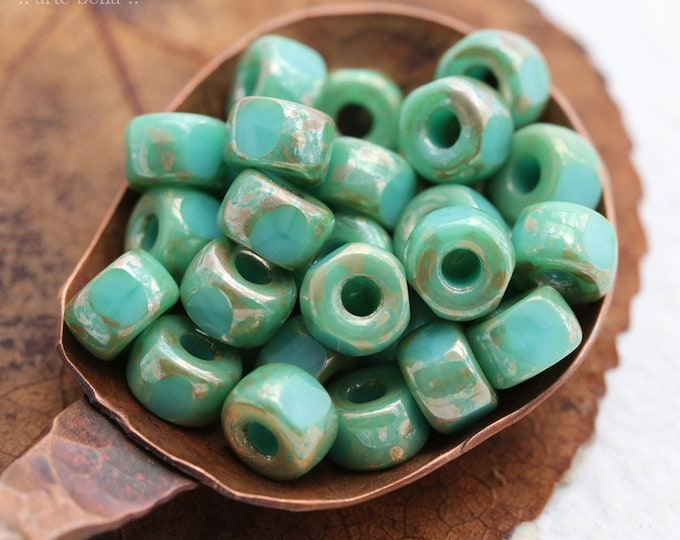 SILVERED TURQUOISE SEEDS No. 2 .. 30 Premium Picasso Matubo 3 Cut Czech Glass Seed Beads Size 2/0 (8186-30)