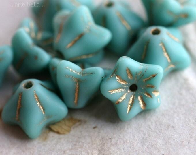 GOLDEN TURQUOISE BELLS .. 10 Premium Picasso Czech Glass Bell Flower Bead 5x8mm (6881-10)