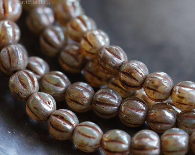CASHMERE MELONS No. 2 .. 50 Premium Picasso Czech Glass Melon Beads 4mm (5993-st)